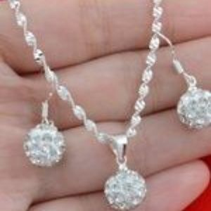 """Jewelry - 24"""" 925 STERLING SILVER CHAIN ~ CHRYSTAL BALLS"""